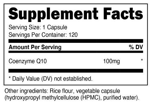 CoQ10 Supplement Facts